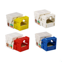 Wholesale Wholesale Network Jacks - Cat6 Tool-Free RJ45 Keystone Jacks Network 90degree UTP Cat 6 Module 4 Colors Cat6 Information Outlets