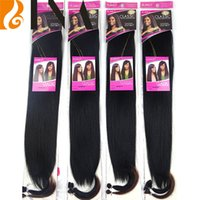Wholesale Hair Extension Noble - synthetic hair bundles noble black silky straight hair extension 20inches hair weaving weft for black woman