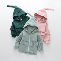 Girls Cotton Ruffles Jackets Baby Girl Fashion с капюшоном Outwear Kids girls Casual Zipper Coat 2017 детская одежда