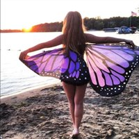 Wholesale Chiffon Scarf Fabric - women Soft Fabric Butterfly Wings Shawl Fairy Ladies Nymph Pixie Costume Accessory Chiffon scarf durable Swimsuit Sarong Wrap
