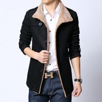 Wholesale Wool Coat Style For Man - Wholesale- Plus Size L-6Xl Men Wool Coat Jacket Woolen Overcoat British Style Casual Blazers For Men Velvet Blazer Men Suit Free Ship B17