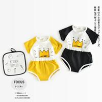 Wholesale Underwear Kids Print Boys - Nicoevaropa 2017 New Kids Clothing Set Toddler Boys and Girls Crown Printed Cotton T-shirt and Underwear Newborn Children Clothes