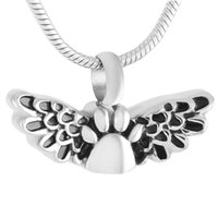 Wholesale 14k Butterfly Pendant - IJD9373 Butterfly Stainless Steel Cremation Pendant Necklace Paw Engraved Pet Memory Ashes Keepsake Urn Necklace