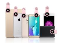 Wholesale Iphone Camera Filters - Optic Lens 180 Fisheye 0.65 Wide Angle &10 Macro filter Cell Phone Camera Lens for Samsung iPhone 5 6 7 Xiaomi huawei