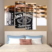 4 pezzi / Set Framed HD Printed Jack Daniels Whisky Old No.7 Stampa Poster su Tela Canvas Stampa Decorazione d'interni Modern Oil Painting Opere
