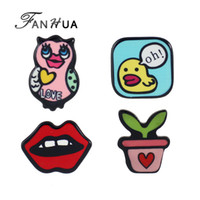Wholesale Enamel Owl Pin - Wholesale- FANHUA 4pcs set New Lovely Colorful Enamel OwL Lip Plant Small Duck LOVE Letter Brooches Fashion Accessories