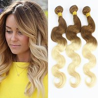 Wholesale Two Tone Blonde Hair Sale - New Sale Two Tone Color #8 613 Brown Blonde Ombre Body Wave Wavy Virgin Brazilian Human Hair Weave Weft Extensions 3 Bundles Lot