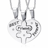 Wholesale Quality Forever - Collares 3in1 Heart Stainless Steel Statement Necklaces Women's and Men's Top Quality Best Friends Forever Necklace PBF-001