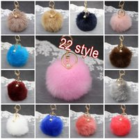 Wholesale Cellphones Chain - 8cm Artificial Rabbit Fur Keychain Pearl Ball Pom Pom Key Chain For Womens Bag Or Cellphone Or Car Pendant 22 Color Gift C132L