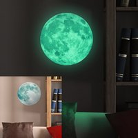 Autocollants Lumineux En Gros Pas Cher-Vente en gros- 30cm Large Lune Glow in the Dark Luminous DIY Wall Sticker Living Home Decor Adesivo De Parede Vinilos Paredes Stickers Muraux