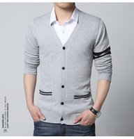 Wholesale Xxl Mens Knit Cardigan - Wholesale free shipping new stylish striped sweater men brand slim fit mens jumper M - XXL button cardigans men cotton winter men sweater