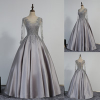 Wholesale See Corset - Modest Lace-Appliques Long-Sleeve Beading A-line Prom Dress See Through Bodice Grey Satin Long Evening Gowns Corset Back Party Dress