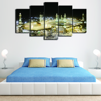 Wholesale Islamic Abstract Wall Painting - 5 Pcs Set Framed HD Printed Islamic Muslim Mosque Picture Wall Art Canvas Print Room Decor Poster Canvas Painting Abstract Art