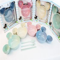 Wholesale Dinner Plates Bowls - Eco-friendly Ear Style Children Feeding Bowl Baby Bowl Cute Dinner Tray Dishes Fruit Plate Tableware Healthy Material