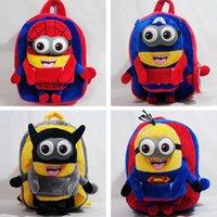 Wholesale Minions 25cm - 1 Pcs 25cm Despicable Me Plush Backpack Soft Superman Spider-Man Minion School Bag Children Cartoon Bag for Kids Boys Girls