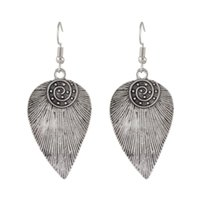 Wholesale Feather Earrings Gold Charms - Antique Tibetan Design Metal Feather Drop Earrings for Women