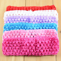 Wholesale Crocheted Elastic - Crochet Elastic Baby Headband solid Fashion Hair Accessories Sweet 38 color selectable girl boy hairband decoration