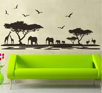 Wholesale Safari Stickers - Wholesale- 160*75cm black africa grasslands wall stickers decals wild safari landscape wallpaper mural adult man home living room decor