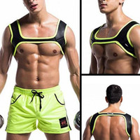 Wholesale Physical Support - Wholesale- Man Neoprene Body Building Fit Sports Shoulder Strap Fitness Strong Muscle Physical Exercises Chest Harness Top