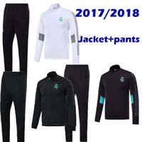 Wholesale Men S Home Pants - New 2017 2018 Real Madrid Home white Away BlackJackets+Pants Tracksuit 17 18 Footbal Survetement Hoodies Top Thailand Quality Free Shipping
