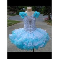 Wholesale Cute Babies Photo Pink - Girls Pageant Dresses Sky Blue And White Organza Puffy Cute Ball Gown Little Baby Real Photo Flower Girl Dress 2017