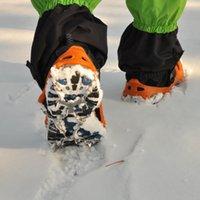 crampones de cadena al por mayor-Crampones de alpinismo Hewolf antideslizante 8 dientes Crampones Garras de nieve Zapatos Cadena de uñas con acero de caucho Conveniente para exteriores 15 5gl I1