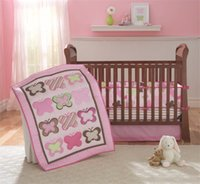 Wholesale Pink Crib Skirts - American Baby Bedding Set 4 PCS Girls Crib Bed Set Pink Butterflies embroidered Inc Comforter ,Bumer, Coverlet and Skirt