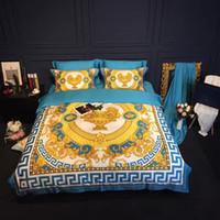 queen-quilt-set blau großhandel-Baumwolle Bettwäschesatz Duvet Bettwäsche blau Bettbezug Set Satin König Tröster Set Decke deckt Queen Size