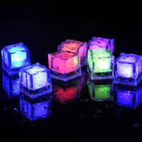 Wholesale flash simulation - simulation ice cubes Led Lights Polychrome Flash Ice Liquid Sensor Glowing Ice Cube Submersible Lights Decor Light Up Bar Club Wedding Party