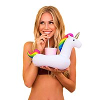 Wholesale Inflatable Pvc Toys For Kids - Inflatable Drink Cup Holder PVC Inflatable White Unicorn Beer Drink Cup Holder Pegasus Floating Pool Drink Holder for Party