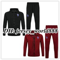 Wholesale France Soccer Jacket - top thai quality 16 17 red France jacket Training suit kits black soccer Jersey 2017 GRIEZMANN POGBA MARTIAL football shirts