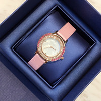 Wholesale High Brand Dresses Design - 2017 New design Luxury leather watch with diamond Fashion lady dress watch Jewelry Women watch High Quality famous brand free shipping