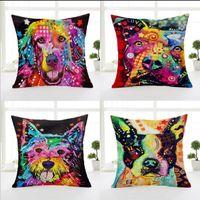 Wholesale Hand Painted Pillows - American Graffiti Cartoon Dog Printed Pillowcase Creative Hand Painted Cushion Decorative Pillow Cushion Home Decor Throw Pillow case