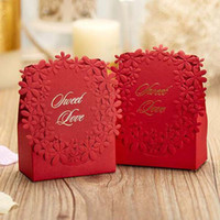 Wholesale Sweet Wedding Favours - 100Pcs lot Red colors Luxury Candy Boxes Laser Cut Sweet Boxes for Wedding Wedding Party Favour Box Party Gift Box