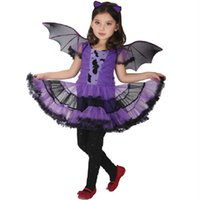 Wholesale Masquerade Party Kids Costumes - alloween costume for kids Hot Fancy Masquerade Party Bat Cosplay Dress Witch Clothing Halloween Costume for Kids Girls with Wings Headban...
