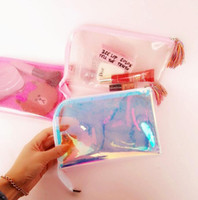 Portátil Transparente Glittering Cosmetic Bag Tassels Zipper Travel Make Up Bag Letter Maquiagem Case Pouch Toiletry Organizer KKA3064