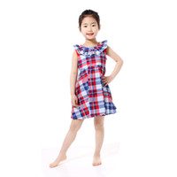 Wholesale Girls Dress Red White - Sale Patriotic Kids Dresses Red White Royal Blue Sleeveless Collar Girls Dress Clothing with Zipper Toddler Outfit
