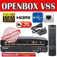Wholesale External Tv Receiver - IPTV TV BOX Openbox V8S Satellite Receiver Support WEBTV Biss Key 2x USB Slot USB external Wifi 3G Youtube Youporn CCCAMD NEWCAMD stock UK
