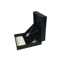 Wholesale lizard necklace jewelry - 2Pcs Black Jewelry Display Box Lizard Pattern Leatherette Wedding Engagement Pendant Necklace Earring Organizer Gift Box 8*6.5*2.7cm