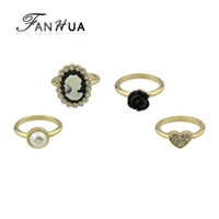 Wholesale White Gold Cameo - 4 pcs set Retro Style Gold-Color with Rhinestone Simulated-pearl Heart Ring Black Flower Cameo Finger Ring Women Jewelry