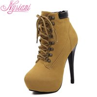 Wholesale pointy toe boots - Wholesale- Winter Lady Platform Boots 2016 Stiletto Heels Lace Up Ankle Boots For Women Little Pointy Toe Fashion High Heels Martin Boots