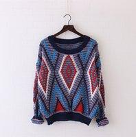 Wholesale Girls Sweater Knit Pattern - Wholesale- Ethnic geometric diamond pattern Sweaters o-neck long sleeve Knitted pullover mori girl 2016 autumn New