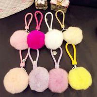 Wholesale Wholesale Ch Bag - Rabbit Fur Ball Keychain Braided Pu Leather Women Llaveros De Cuero Llaves Porte Chaveiros Portachiavi Mirror Make Up Ring Lovely Car Bag Ch
