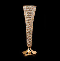 """Wholesale Tall Crystal Flower Stands - 10pcs lot 22.83"""" tall Gold Silver color crystal beaded trumpet vase wedding centerpiece crystal flower stand"""