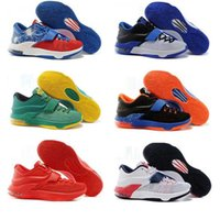 Wholesale Kd Shoes Low Cheap - Cheap Mens Basketball Shoes Kevin Durant KD 7 VII White Black Red Sneakers Sports Air Zoom Trainning Shoes Athletic Shoes free shipping