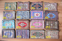 Wholesale Handmade Rugs Carpets - Turkish Handmade Embroidered Fabric Coin Zip Purse Card Holder Rug Kilim Carpet Motif (sent randomly)