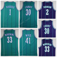 sports johnson - Cheap Larry Johnson Jersey Men Basketball Dell Curry Tyrone Muggsy Bogues Jerseys Sports Alonzo Mourning Glen Rice Green Purple