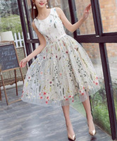 Wholesale tea length lace up back resale online - Floral Embroidery Cream Short Prom Dresses Jewel Neck Sleeveless A Line Tea Length Party Gowns Lace up Back Custom Size