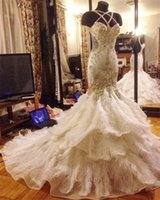 Wholesale Halter Wedding Dress Feathers - Halter Mermaid Luxurious Crystal Beaded Feather Sweep Train Open Back Wedding Dresses Wedding Gown Custom Made