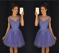 Lavendel 2017 Short Graduation Dresses Spitze Perlen Cap Sleeves Günstige Homecoming Kleid 2016 Tutu Rock Party Kleid